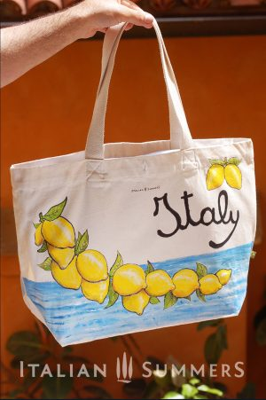 ITALIAN LEMONS shopper/beach bag by Italian Summersshopper tote bag by Italian Summers. Handpainted canvas.