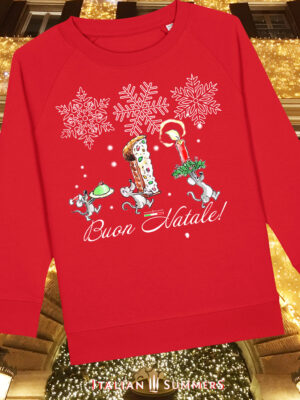 Italian Christmas kids sweatshirt MERRY MICE by Italian Summers. Three cute mice go back to their den to celebrate Christmas with a delicious Sicilian Cassatina and a slice of Panettone. Buon Natale!