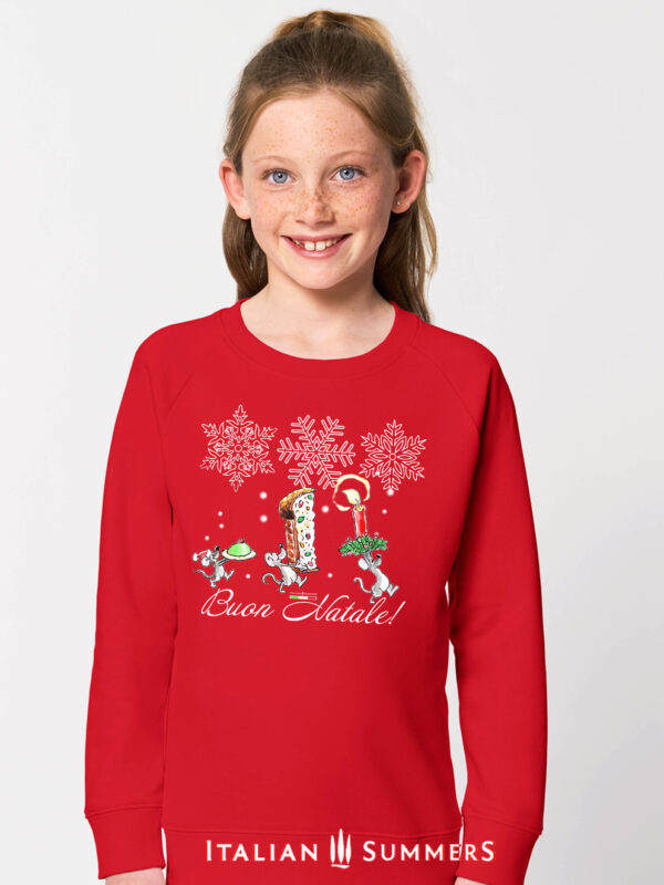 Italian Christmas kids sweatshirt MERRY MICE by Italian Summers. Italian Three cute mice go back to their den to celebrate Christmas with a delicious Sicilian Cassatina and a slice of Panettone. Buon Natale!