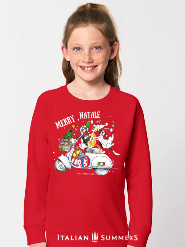 Italian Christmas kids sweatshirt VESPA CATS by Italian Summers. Three merry Italian cats go caroling along on a vintage Vespa scooter in Italy. A sweatshirt sure to put a smile on anyone at an Italian Christmas dinner!