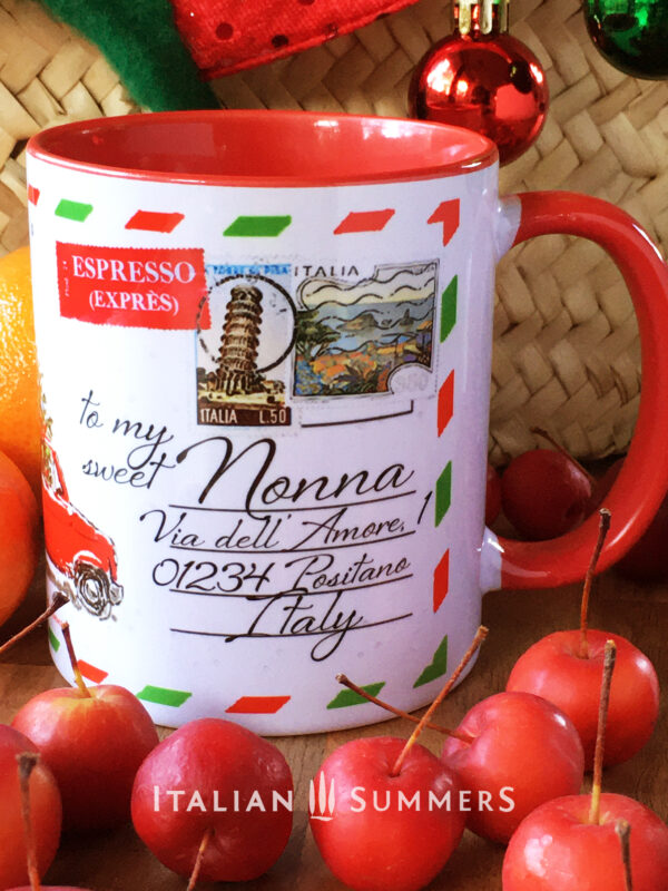 "Italian Christmas mug ITALIAN POST CARD by Italian Summers. Personalized with: "" To My Sweet NONNA"""
