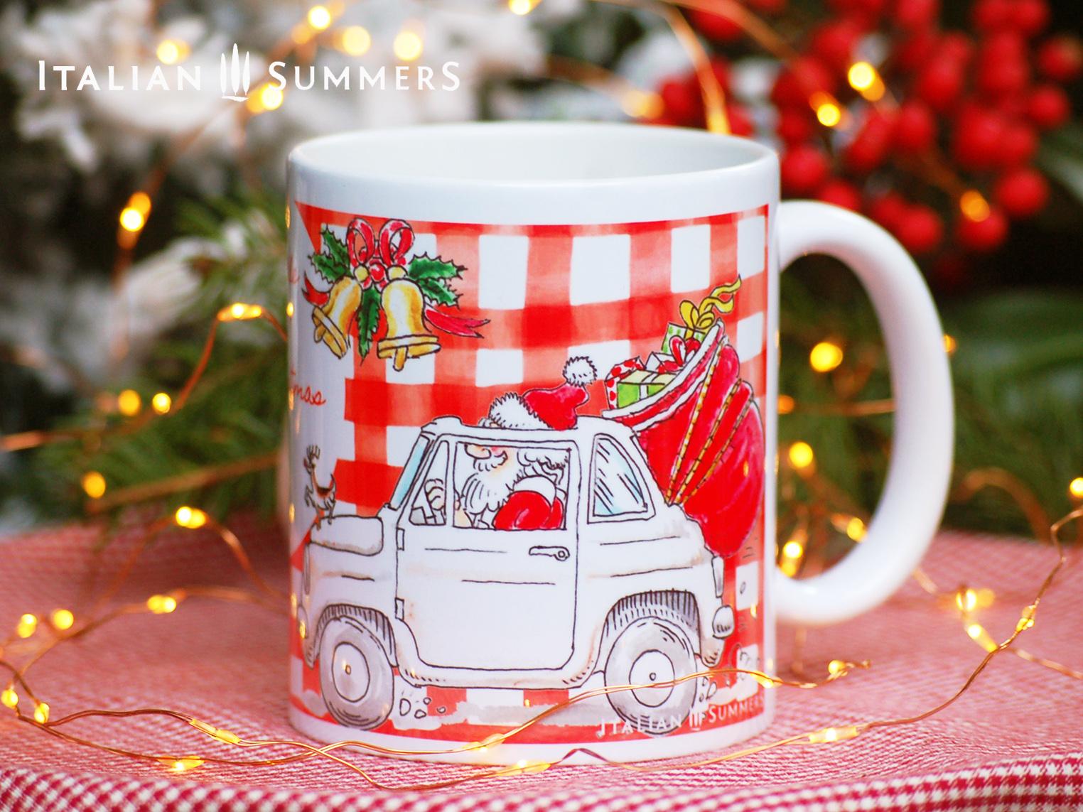 Italian Christmas mug ITALIAN SANTA trattoria style by Italian Summers