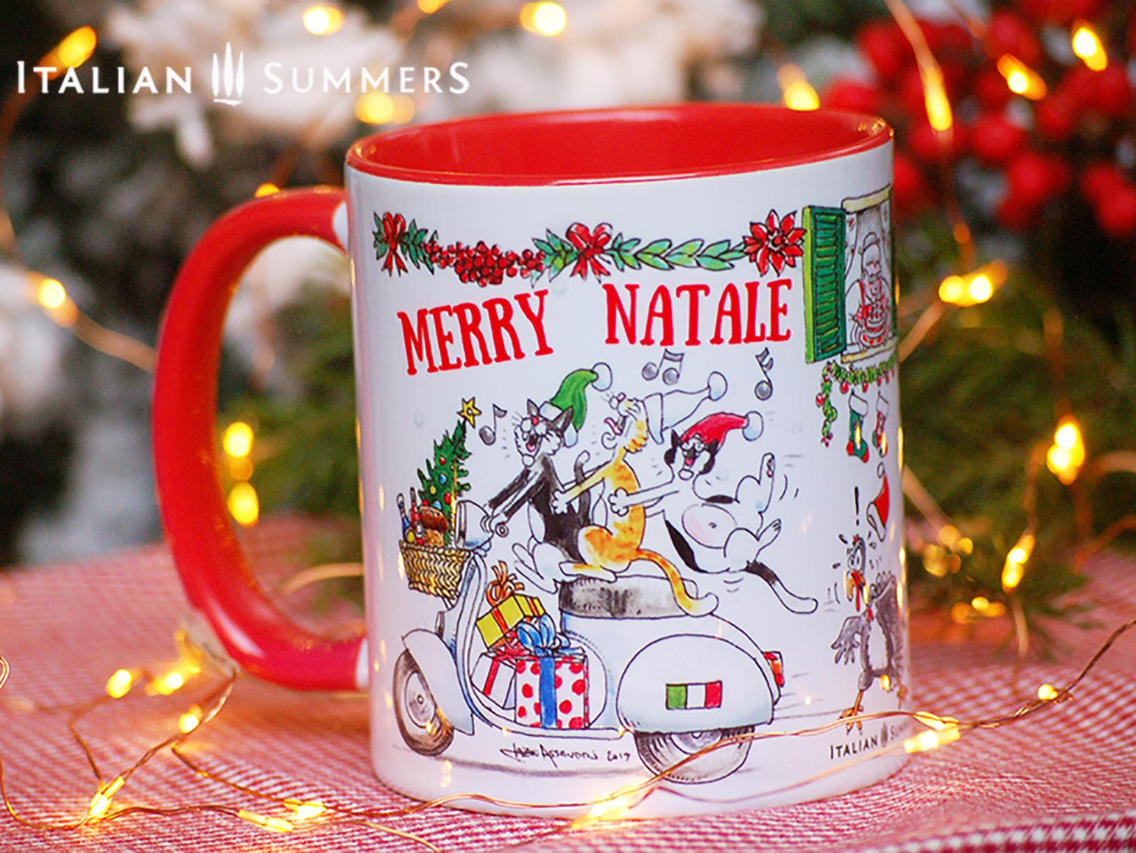 Italian Christmas mug VESPA CATS by Italian Summers