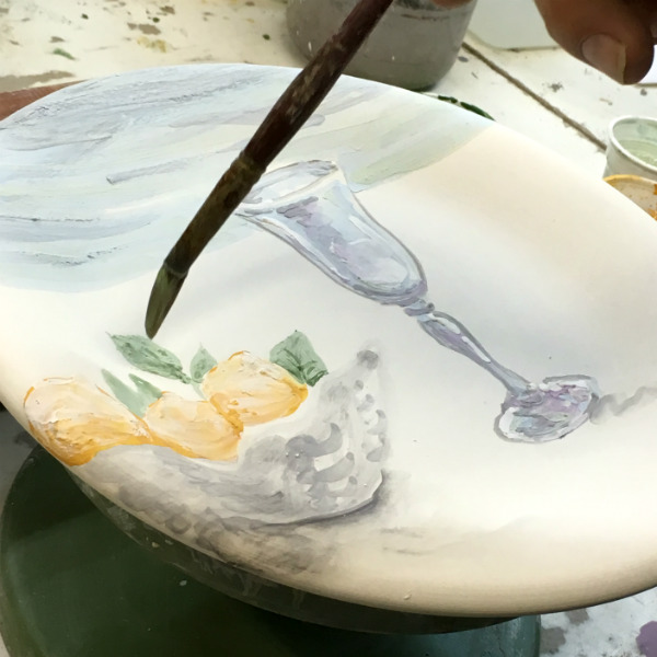 The making of Italian Summers Sorrento lemons plate. Made in Italy. Italian style ceramic plates