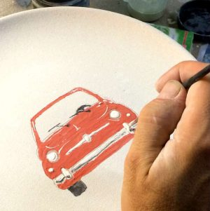 Italian Summers Red Cinquecento plate. Unique ceramic artwork plates. the maing of