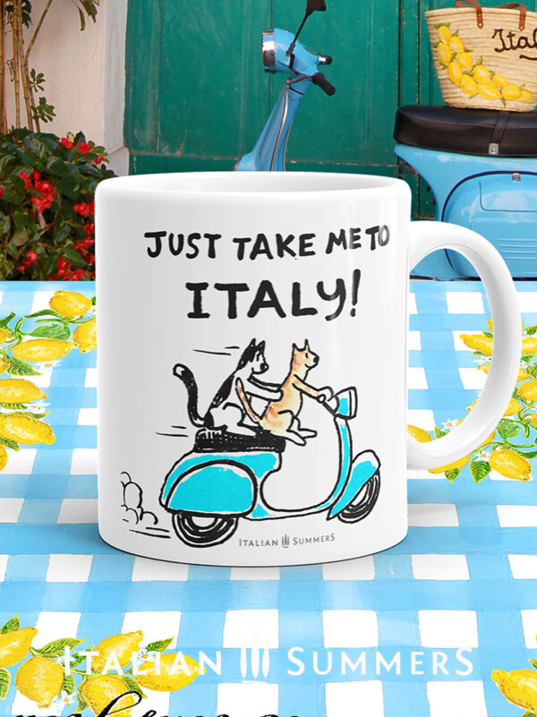 Mug CATS ON A BLUE VESPA-just take me to Italy-by Italian Summer