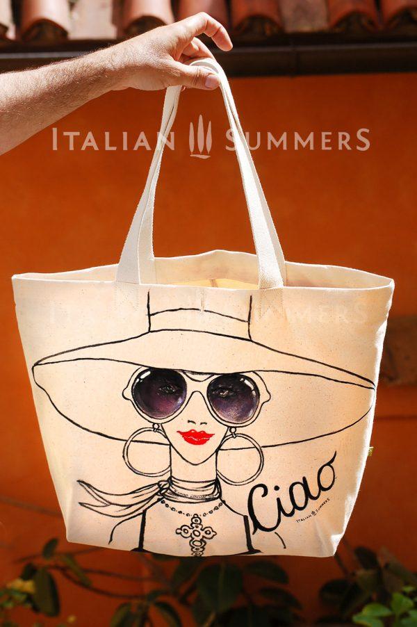 READY FOR CAPRI shopper beachbag by Italian Summers Handpainted canvas.