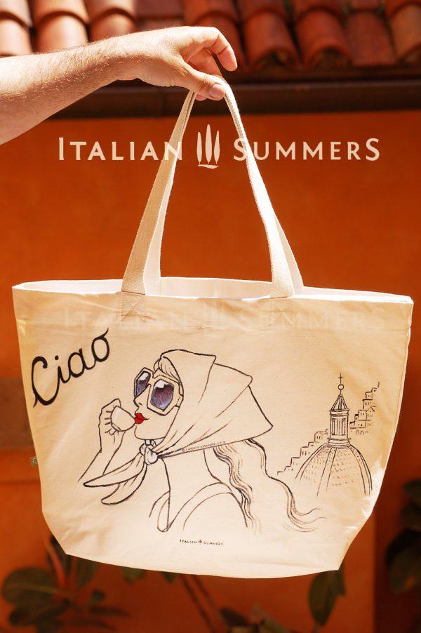 READY FOR POSITANO shopper/beach bag by Italian Summersshopper tote bag by Italian Summers. Handpainted canvas.