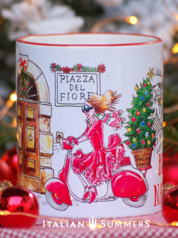 RED DRESS VESPA Italian Christmas coffee mug by Italian Summers.