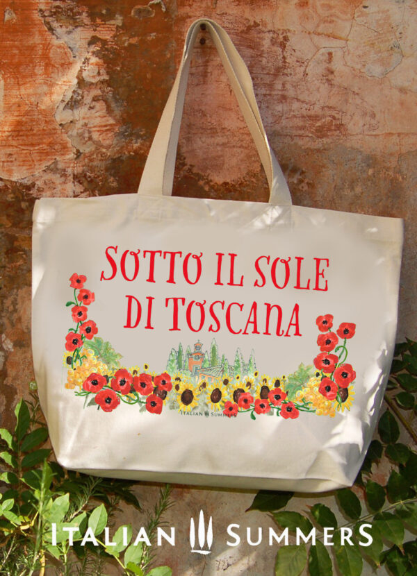 UNDER THE SUN OF TUSCANY shopper/beach bag by Italian Summers Handpainted or printed canvas. Designed in Italy, by Italian Summers