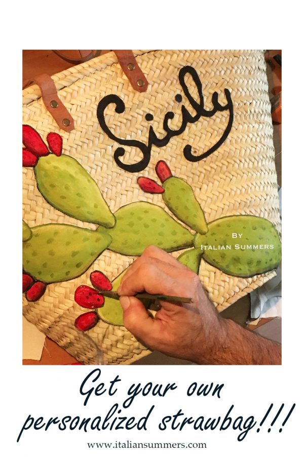 STRAW MARKET SICILY BAG PRICKLY PEAR DESIGN BY ITALIAN SUMMERS