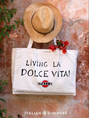 Shopper tote bag LIVING LA DOLCE VITA by Italian Summers