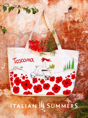 Shopper tote bag Toscana Poppies by Italian Summers