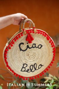 Straw bag round CIAO BELLA red by Italian Summers.