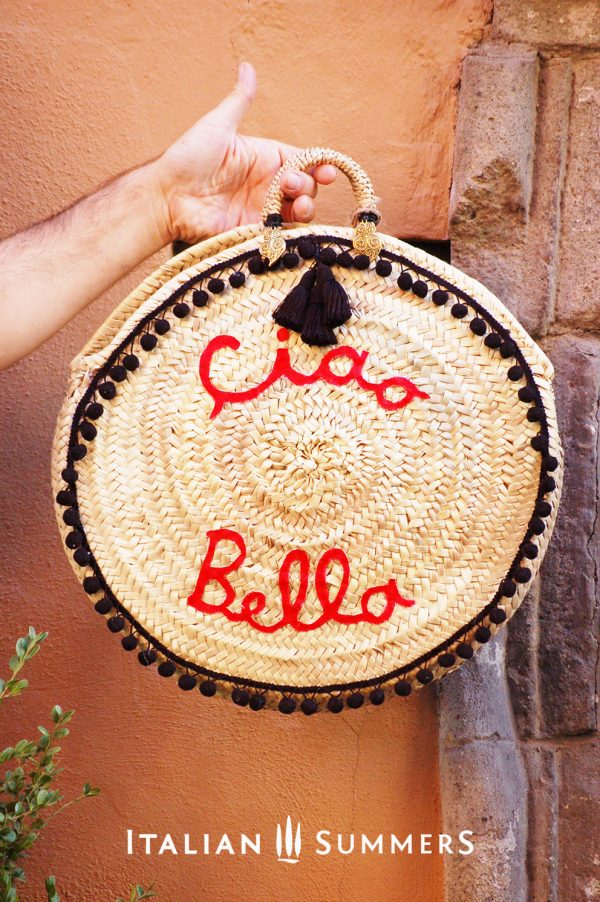 Straw bag round CIAO BELLA black by Italian Summers