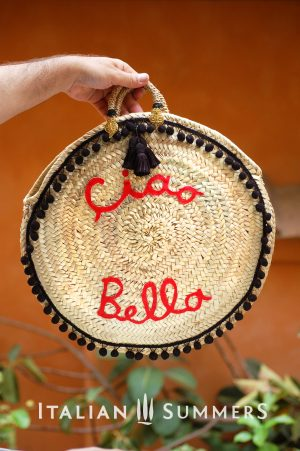 Straw bag round CIAO BELLA red by Italian Summers