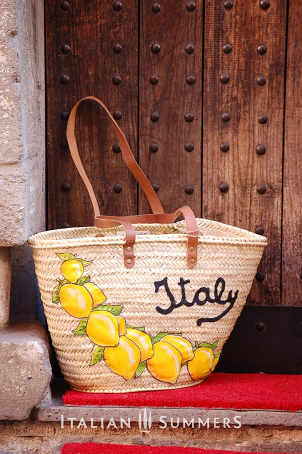 Straw Market Bag ITALY LEMONS by Italian Summers