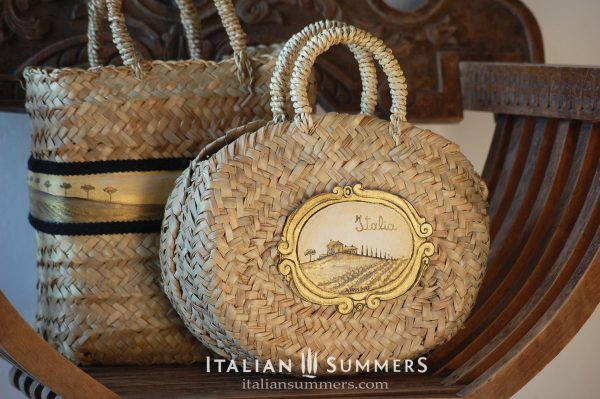 Straw bag Tuscany handpainted by Italian Summers