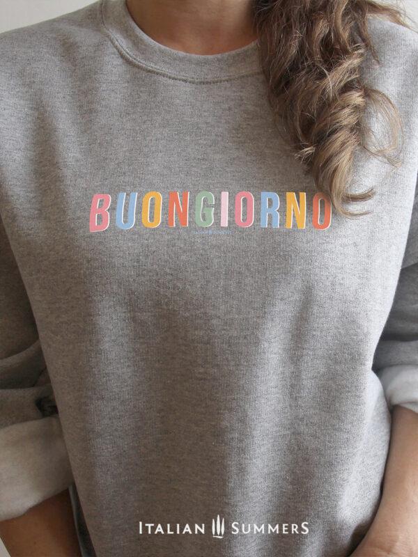 Sweatshirt BUONGIORNO by Italian Summers Gray-white text