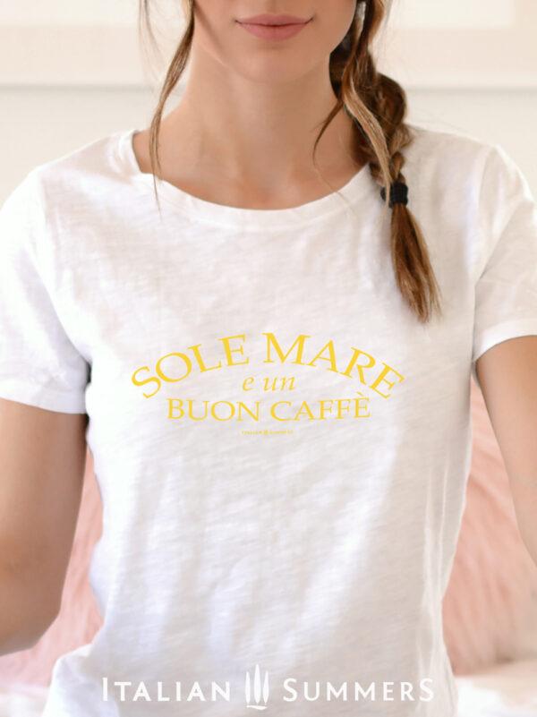 T SHirt SOLE MARE E UN BUON CAFFE -Yellow-by Italian Summers
