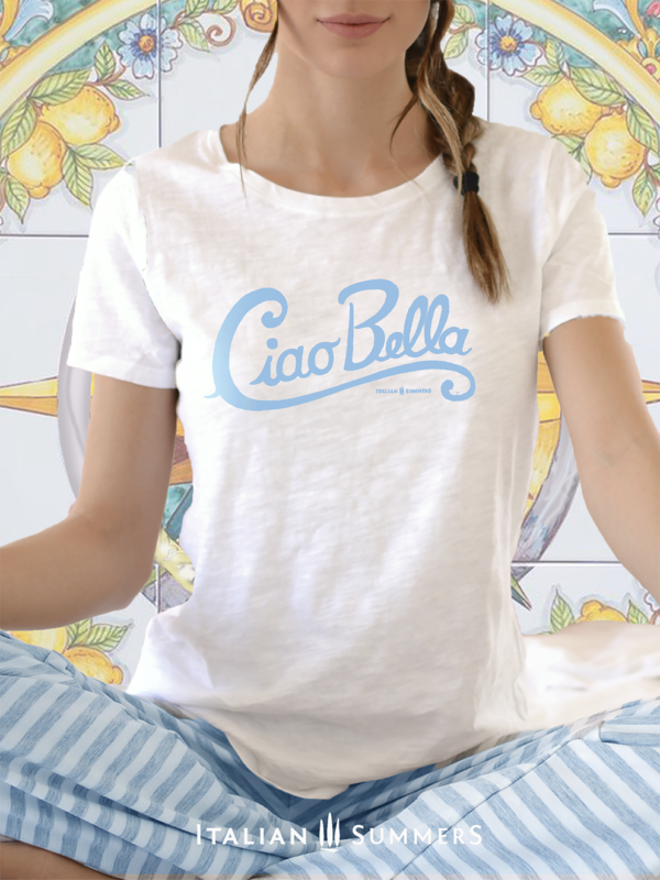 T Shirt CIAO BELLA by Italian Summers blue on white 992