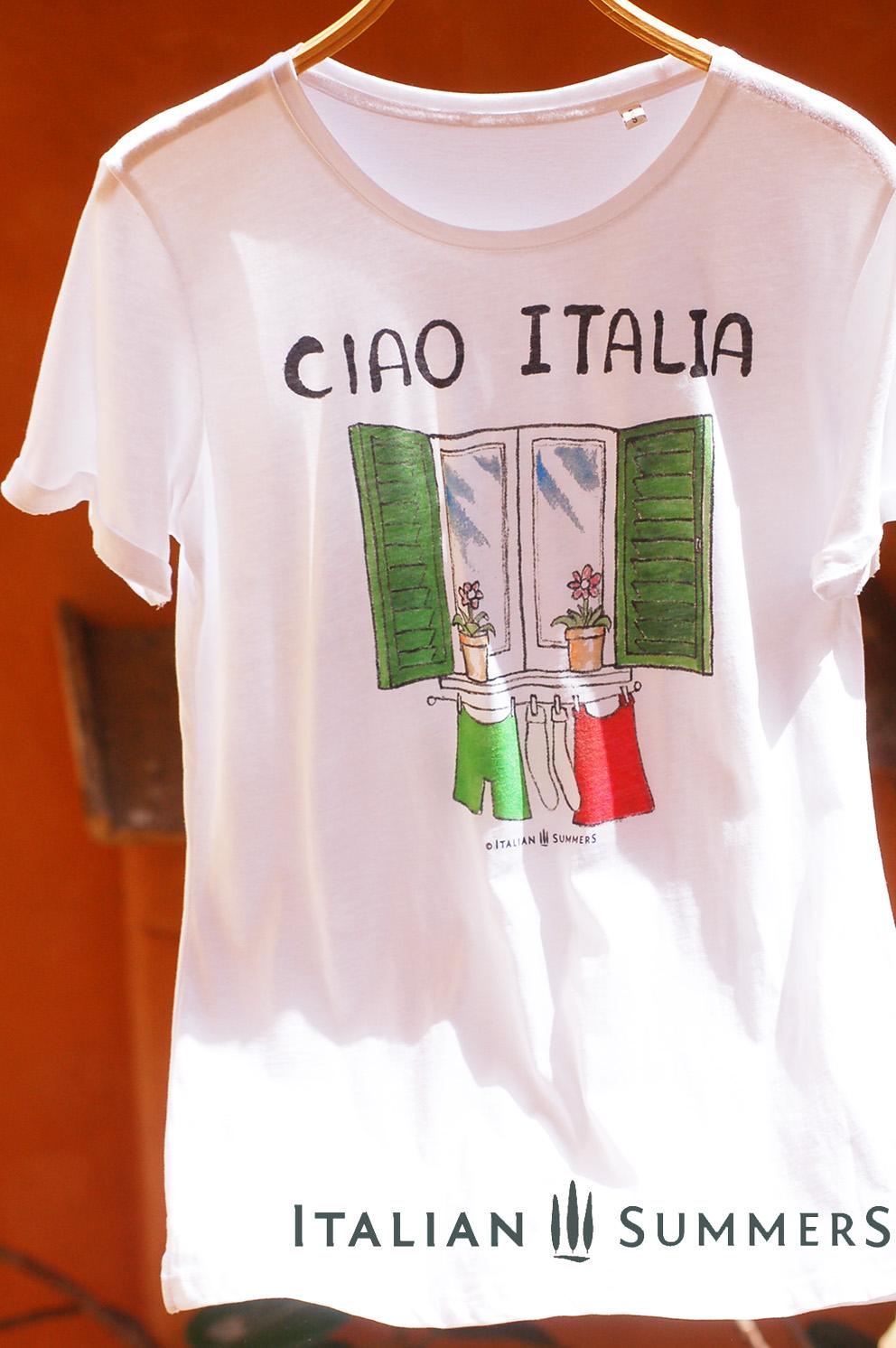 T Shirt Ciao Italia Shutters Flowerpots Laundry Hanging
