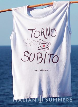 T-shirt TORNO SUBITO, shirt with coffee print handpainted | Italian Summers
