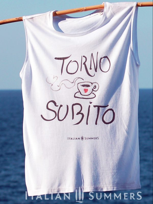 T-shirt TORNO SUBITO, shirt with coffee print handpainted | Italian Summers