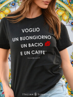 T shirt VOGLIO UN BUONGIORNO Black by Italian Summers