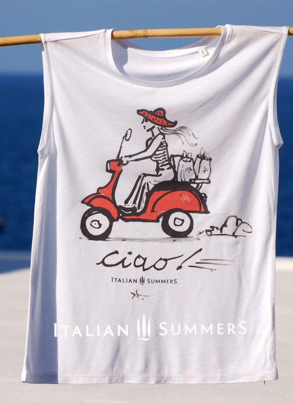 T-shirt Vespa Ciao, shirt with Vespa print handpainted | Italian Summers
