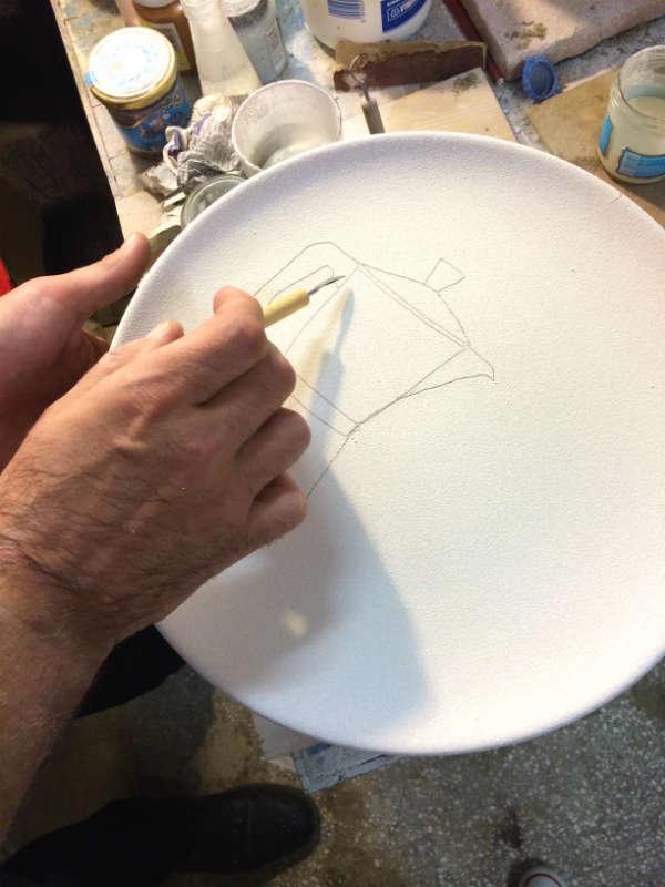 Italian Summers plate Moka Amore, Italian coffeemachine. Handpainted plate by Claudio Assandri, design by Lisa van de Pol. Italian style ceramic plates.