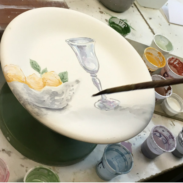 The making of Italian Summers Sorrento lemons plate. Made in Italy. Italian style ceramic plate