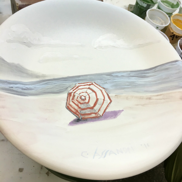 Italian Summers plate Ombrellone, Italian Beach, the making of. By Italian Summers Design, artwork Claudio Assandri, design Lisa van de Pol
