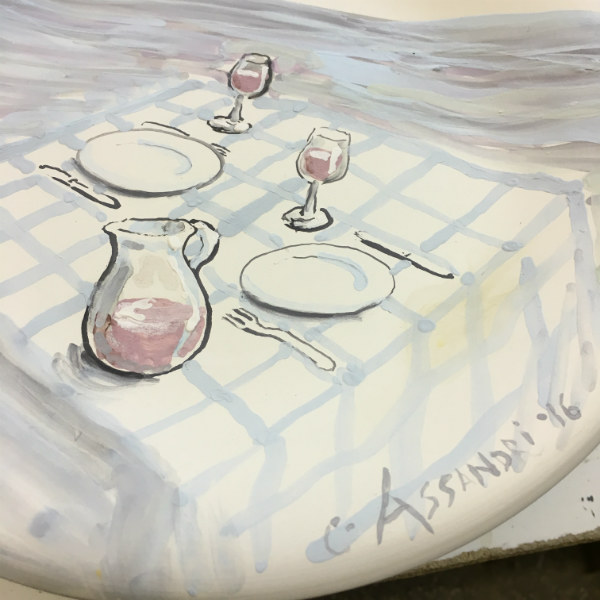 Italian Summers plate Tavola sul Mare, the making of. Artwork by Claudio Assandri, design by Lisa van de Pol, Italian Style ceramic plates