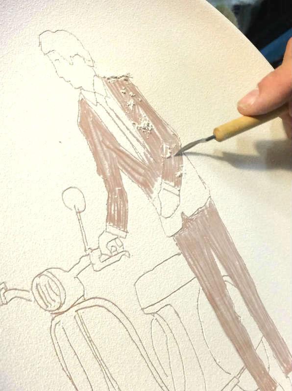 The making of Italian Summers plate Vespa man. Exclusive ceramic Design Lisa van de P