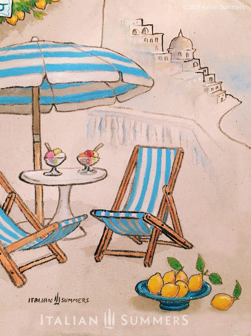 Tote bag Amalfi Coast terrace, Positano Italian Summers