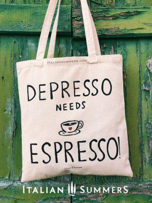Tote bag DEPRESSO NEEDS ESPRESSO by Italian Summers