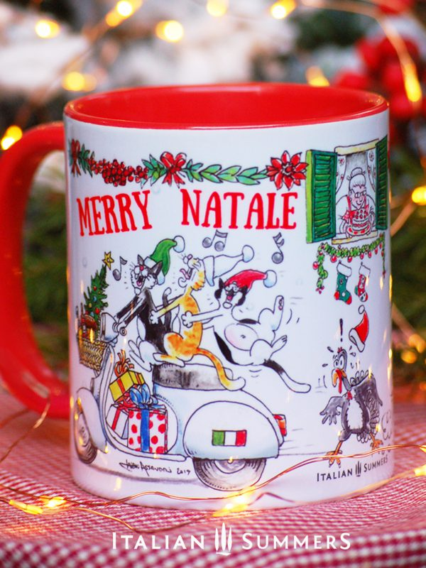 Italian Chrimas Mug VESPA CATS by Italian Summers.