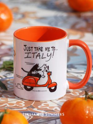 Vespa cats, just take me to Italy mug by Italian Summers