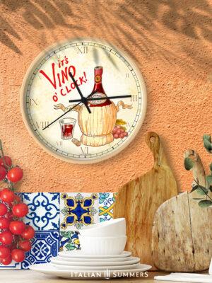 Wall clock It's Vino o'clock by Italian Summers