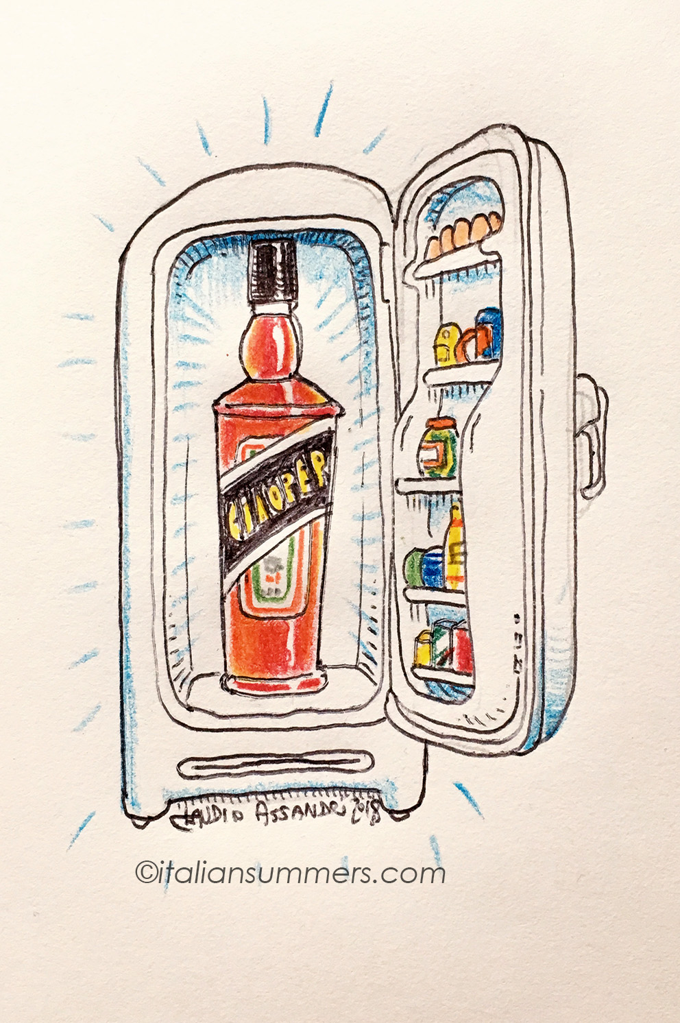 The fridge of an Aperol Spritz lover. Illustration by Claudio Assandri at Italian Summers. Have a look at our Aperitivo tote!