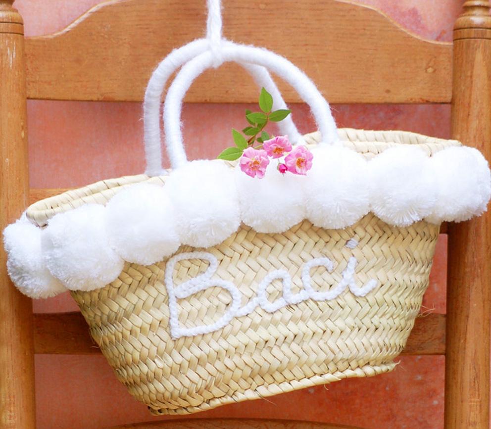 mini straw basket Baci Bianca by Italian Summers